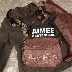 Aimee Kestenberg NWOT Mauve Leather W/ Gold Snake